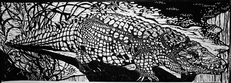 Nile Crocodile/Cocodrilo del Nilo Linoleum block print $130