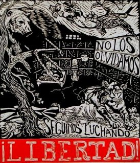 No Los Olvidamos/We haven't forgotten you Linoleum blockprint