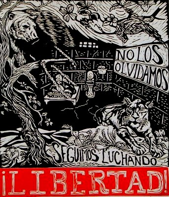 No Los Olvidamos/We haven't forgotten you Linoleum blockprint $25