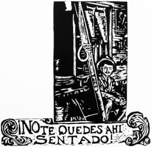 No te Quedes allí sentado/Don't Just Sit There Linoleum block print