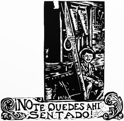No te Quedes allí sentado/Don't Just Sit There Linoleum block print $25