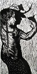 Shadow Talk Wood block print