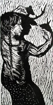 Shadow Talk Wood block print $40