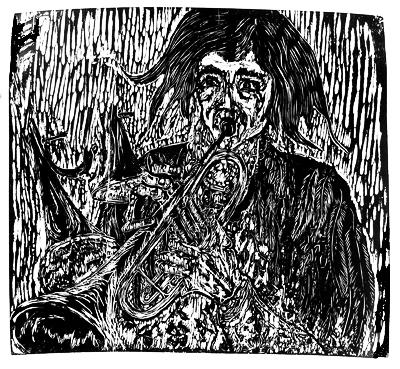 Trompetas 1 color woodcut $30