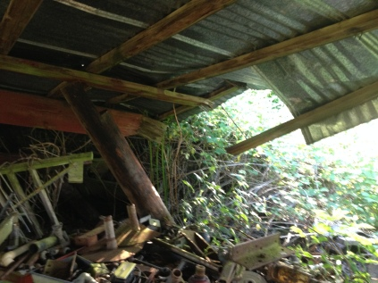 Collapsed barn = location of the print shed
